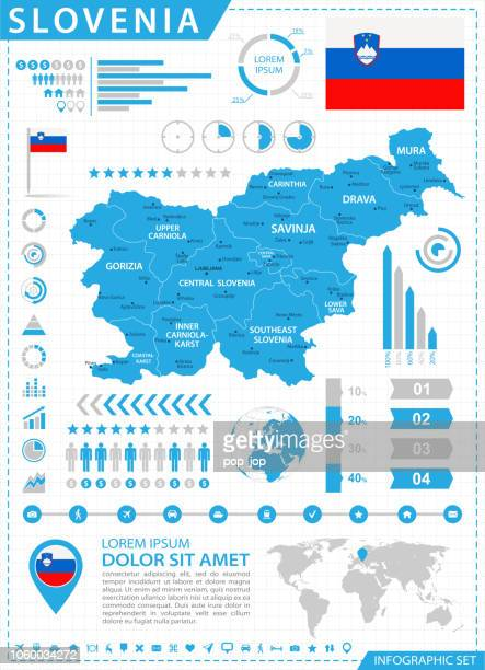 map of slovenia - infographic vector - kranj stock illustrations