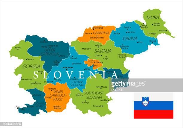 map of slovenia - vector - kranj stock illustrations