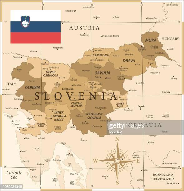 ilustraciones, imágenes clip art, dibujos animados e iconos de stock de mapa de eslovenia - vintage vector - kranj