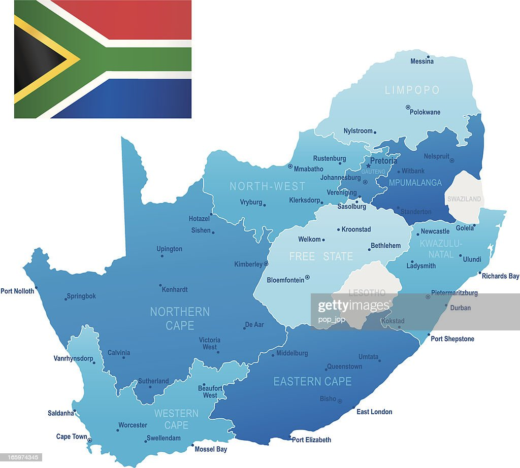 south africa map with states and cities