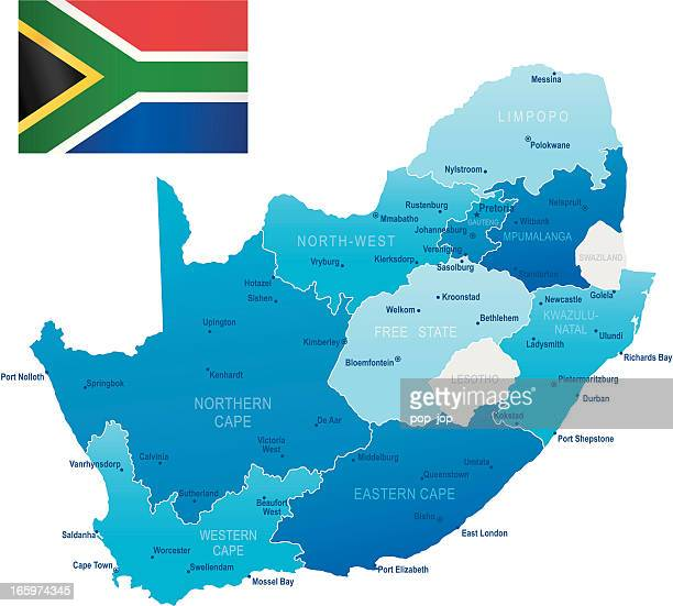Map of South Africa - states, cities and flag