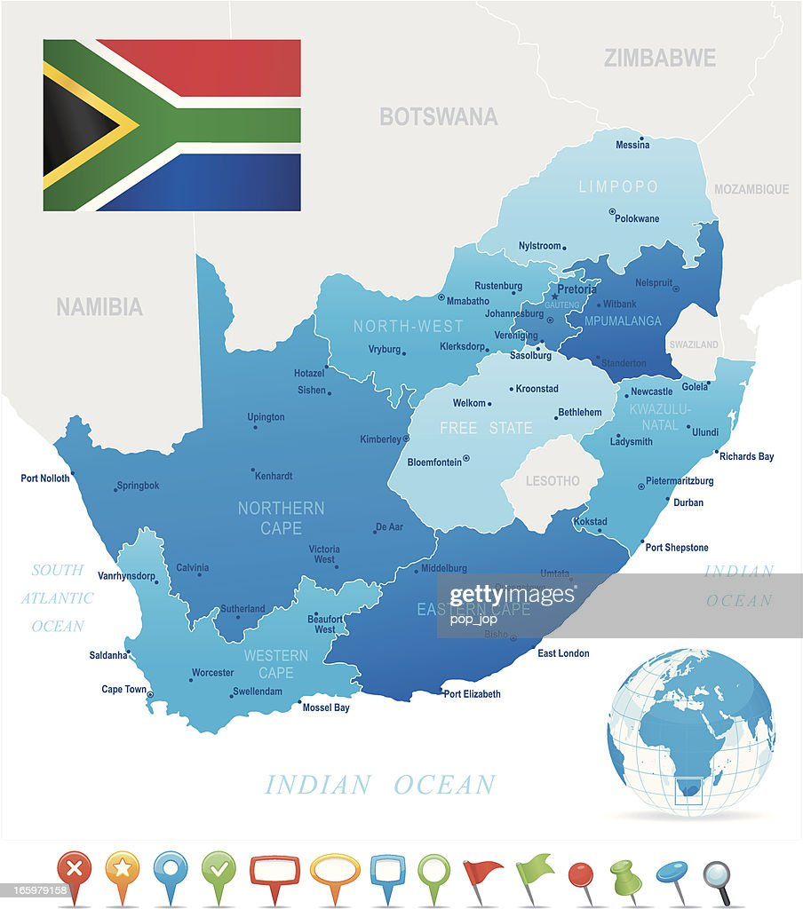 Map of South Africa - states, cities, flag and icons