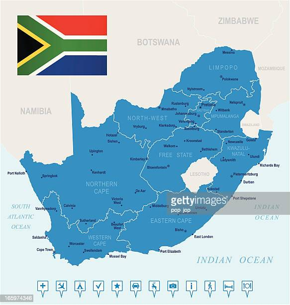 Map of South Africa - states, cities, flag, navigation icons