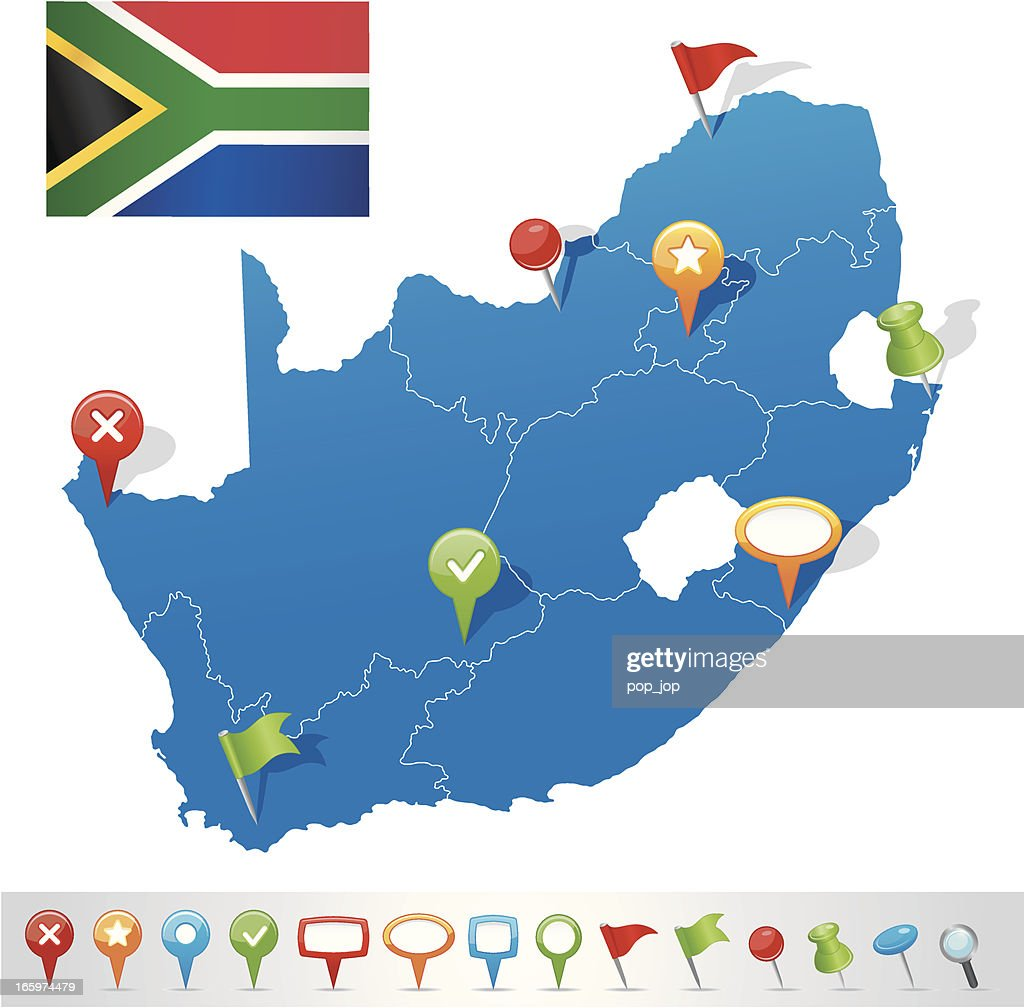 Map of South African Republic with navigation icons : stock illustration