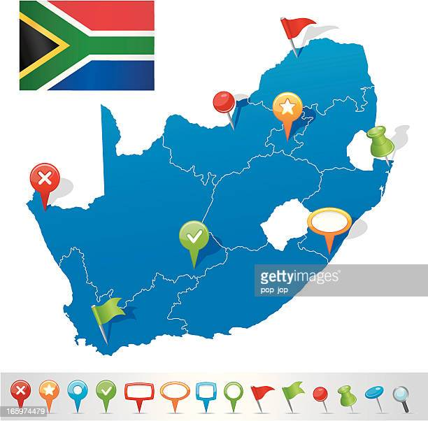 Map of South African Republic with navigation icons