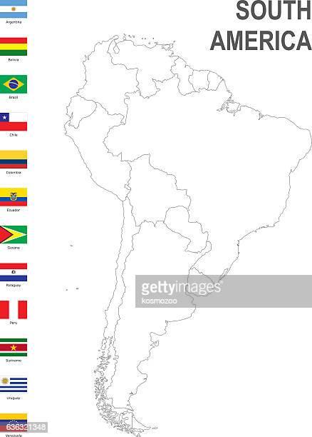 ilustraciones, imágenes clip art, dibujos animados e iconos de stock de map of south america with flag against white background - islas malvinas