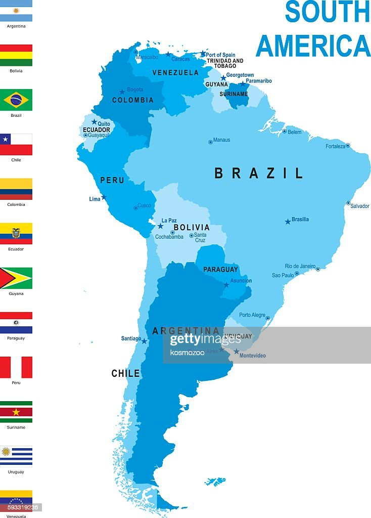 map of South America with flags against white background : stock illustration