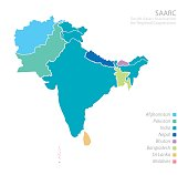 Map of South Asian Association for Regional Cooperation (SAARC)