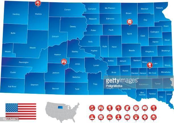 map of south dakota - south dakota stock illustrations, clip art, cartoons, & icons