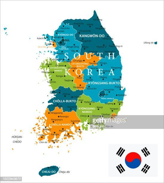 map of south korea - infographic vector - seoul stock illustrations, clip art, cartoons, & icons