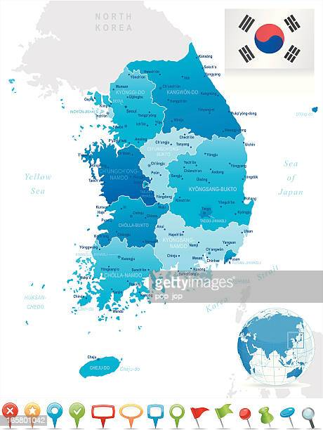 map of south korea - states, cities, flag, navigation icons - seoul stock illustrations, clip art, cartoons, & icons