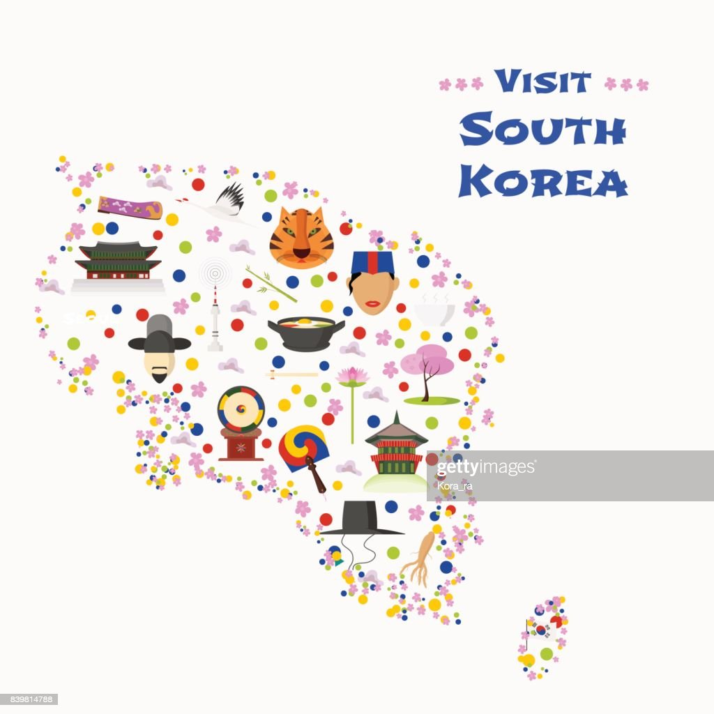 Map of South Korea vector illustration, design