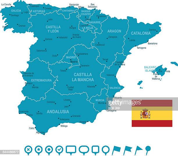 map of spain and navigation icons - oviedo stock illustrations, clip art, cartoons, & icons