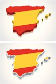 3D Map of Spain Flag