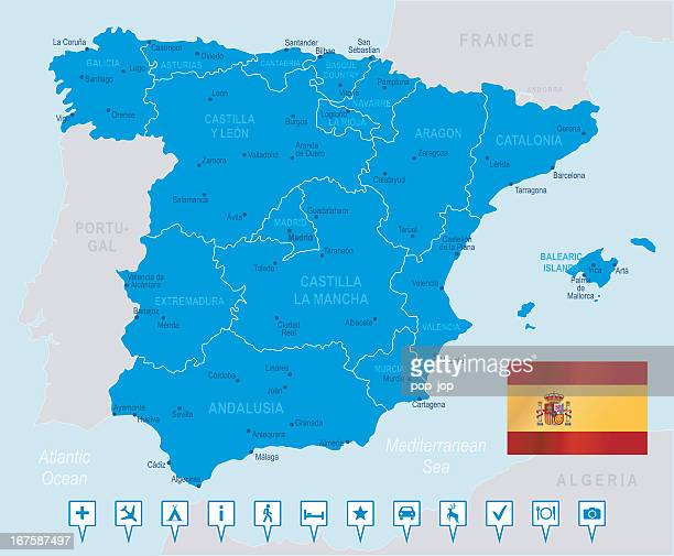 map of spain in blue on light blue background - en búsqueda stock illustrations