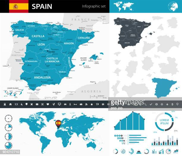 map of spain - infographic vector - iberian peninsula stock illustrations, clip art, cartoons, & icons