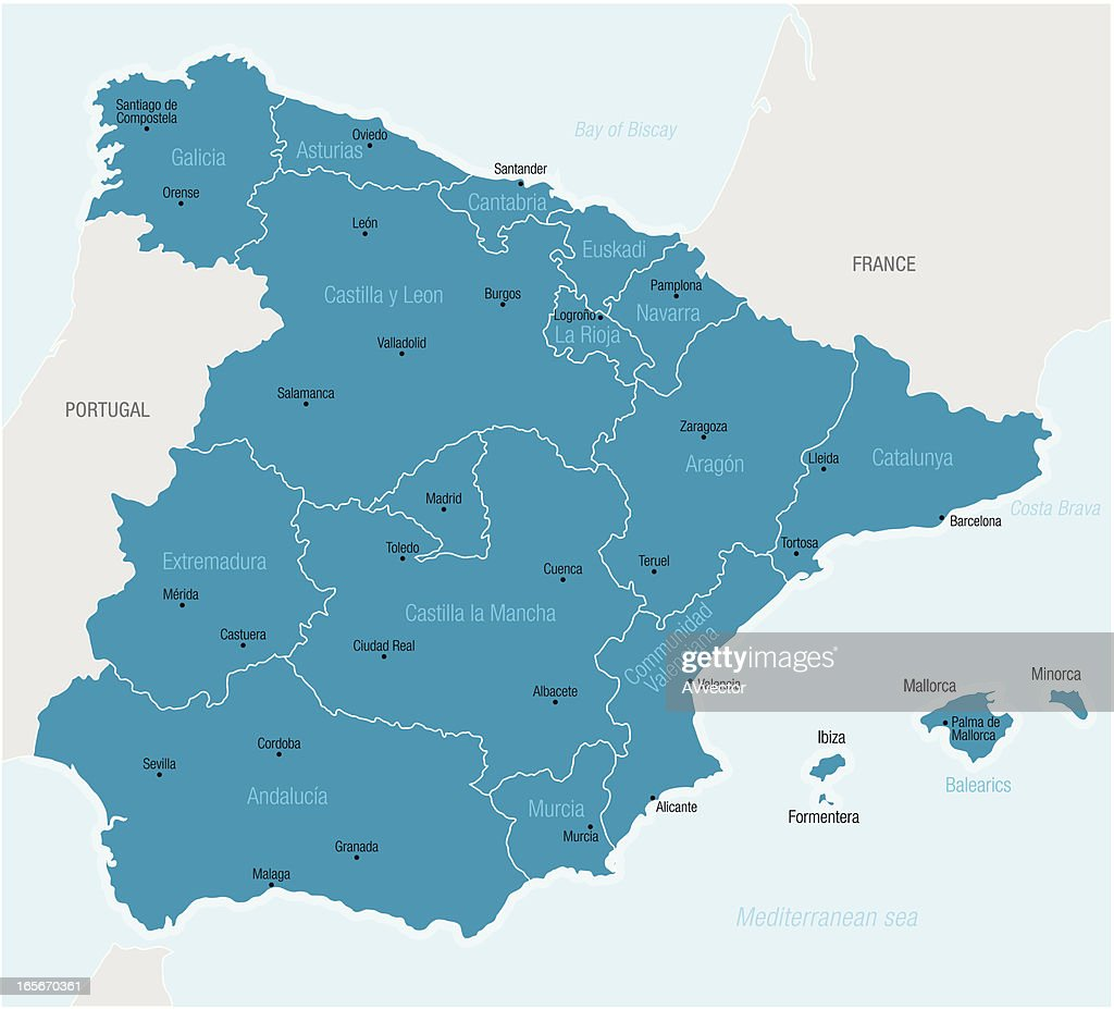 Spain Map Of Provinces.Map Of Spain Showing Provinces And Cities Stock Vector Getty Images