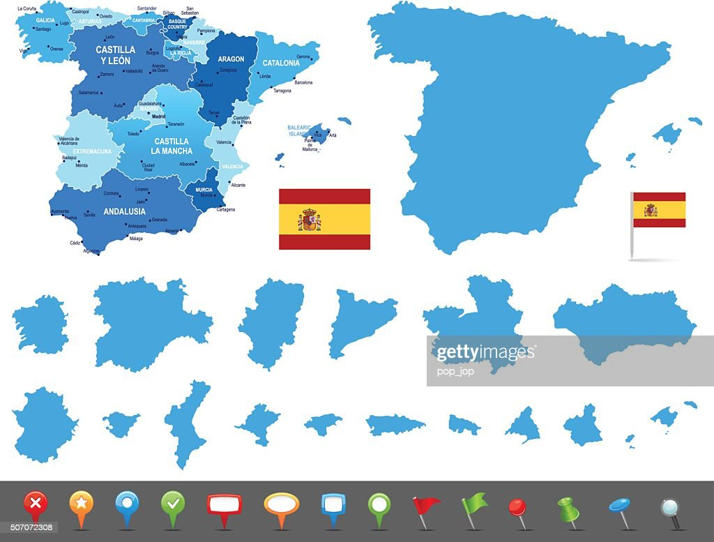 Map Of Spain States Cities And Navigation Icons Vector Art Getty