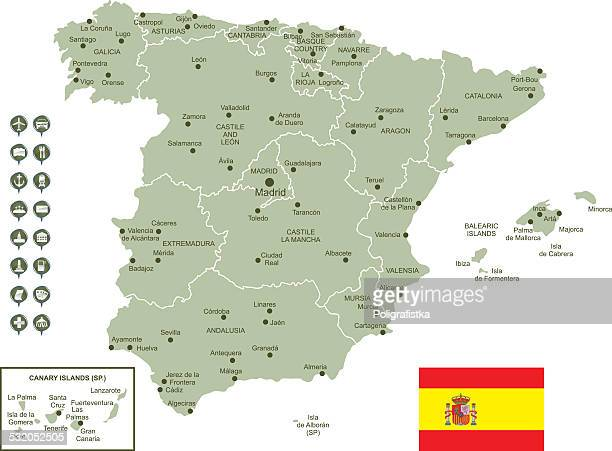 map of spain - oviedo stock illustrations, clip art, cartoons, & icons