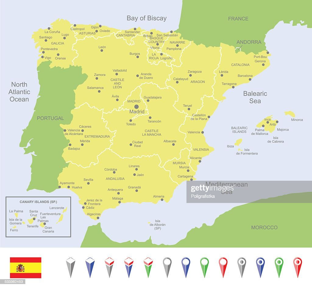 Map Of Spain Vector Art Getty Images