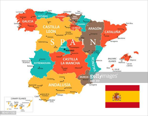 map of spain - vector - barcelona stock illustrations, clip art, cartoons, & icons