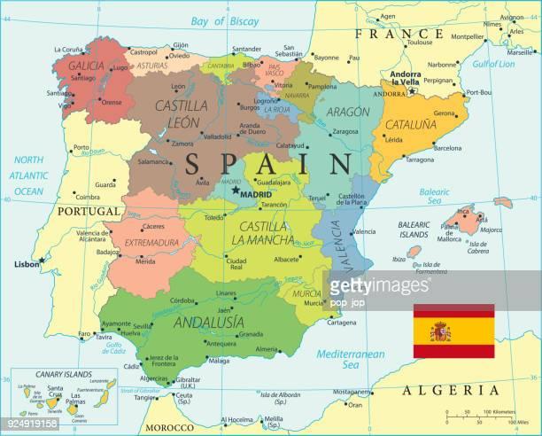 ilustrações, clipart, desenhos animados e ícones de mapa de espanha - vetor - valencia spain