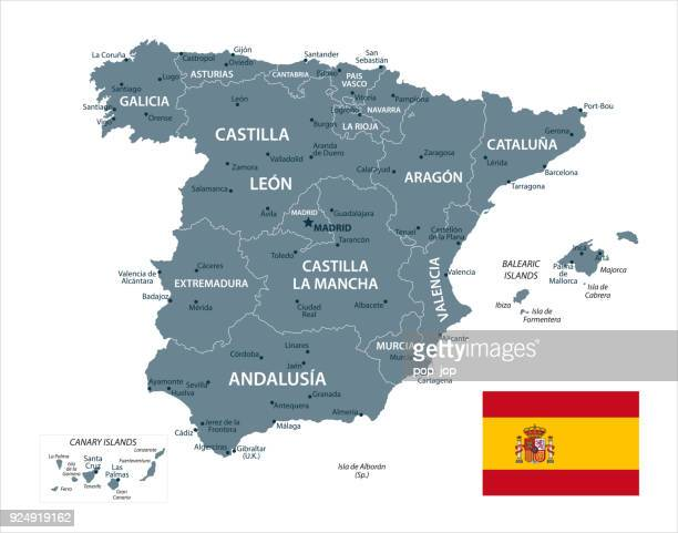 map of spain - vector - comunidad autonoma de valencia stock illustrations