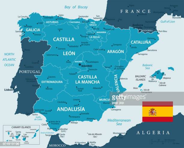 map of spain - vector - iberian peninsula stock illustrations, clip art, cartoons, & icons