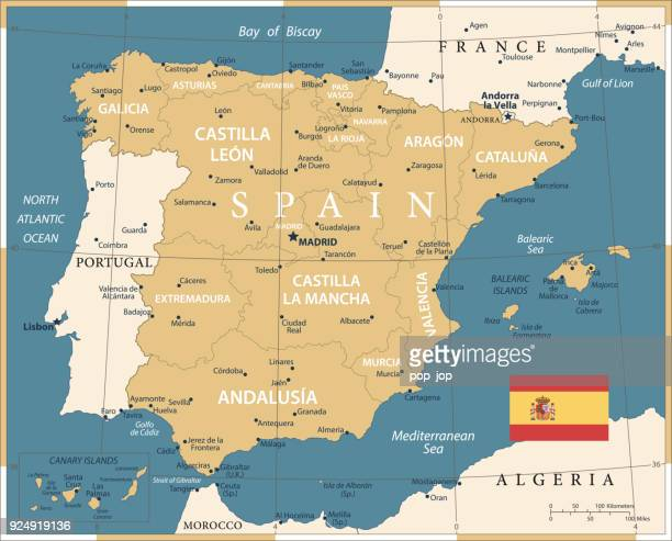 map of spain - vintage vector - seville stock illustrations, clip art, cartoons, & icons