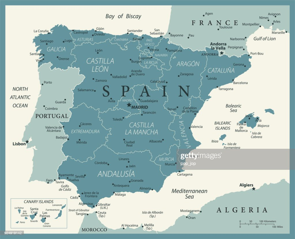 Map Of Spain Zamora.Map Of Spain Vintage Vector Stock Vector Getty Images