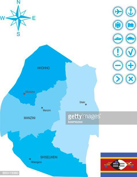 map of swaziland with flag, icons and key - eswatini stock illustrations, clip art, cartoons, & icons