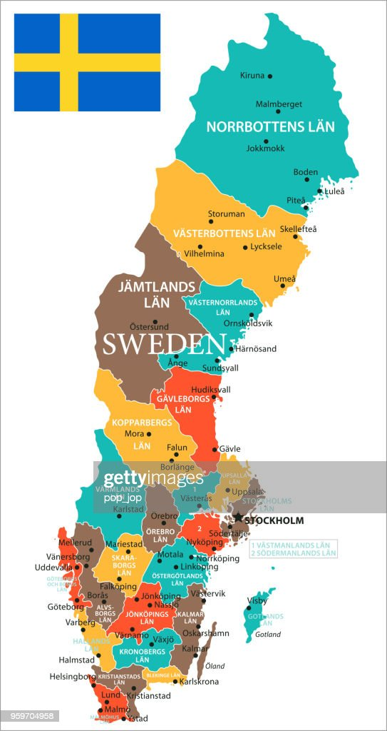 Karte von Schweden - Vektor : Stock-Illustration