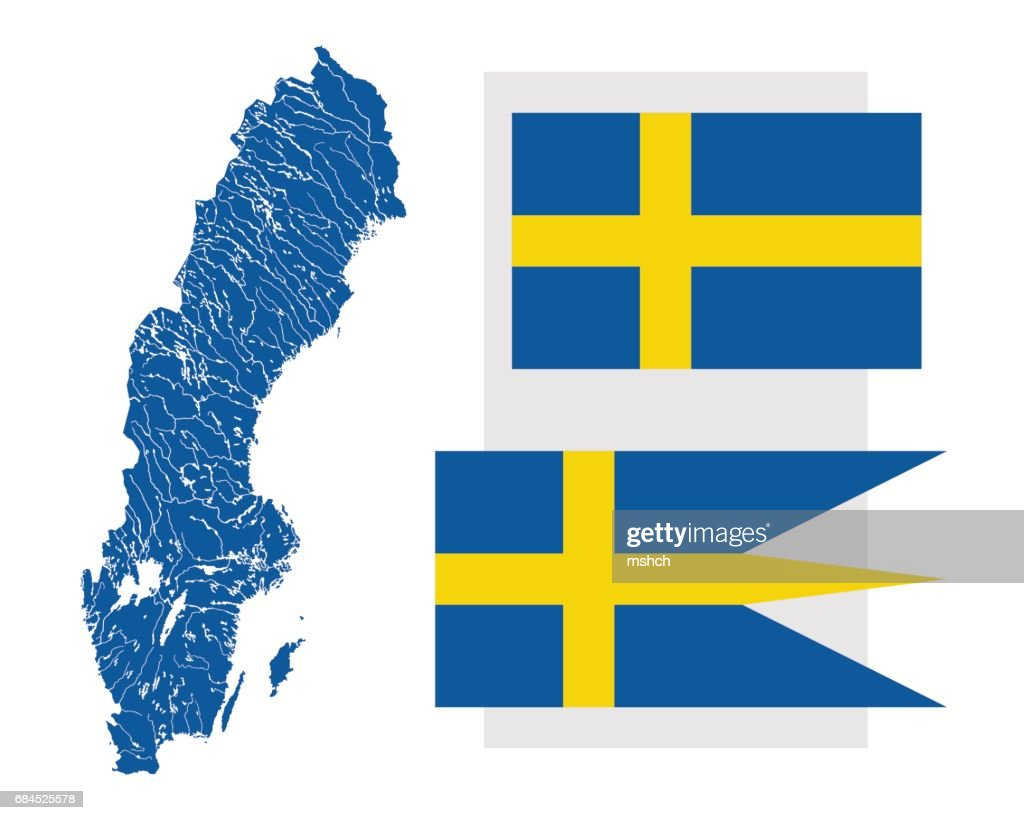 39f3c54a Map of Sweden with lakes and rivers and two Swedish flags. : Stock  Illustration