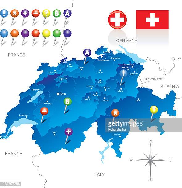 a map of switzerland and surrounding areas - sion switzerland stock illustrations