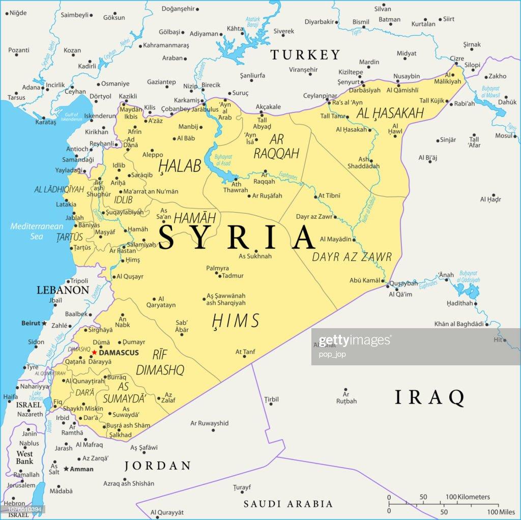 Kaart van Syrië - Vector : Stockillustraties