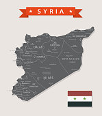 Map of Syria - Vintage Vector