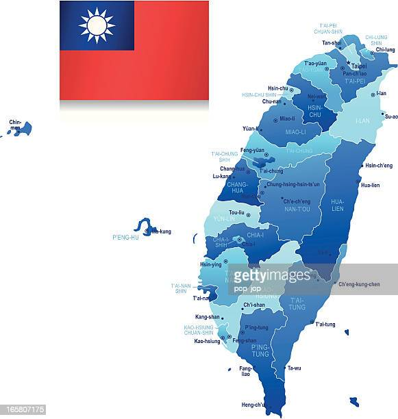 map of taiwan - states, cities and flag - taiwan stock illustrations