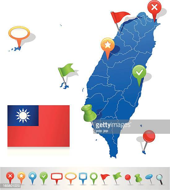 Map of Taiwan with navigation icons