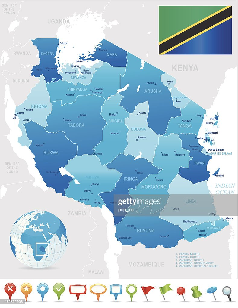 Map Of Tanzania States Cities Flag And Icons stock illustration