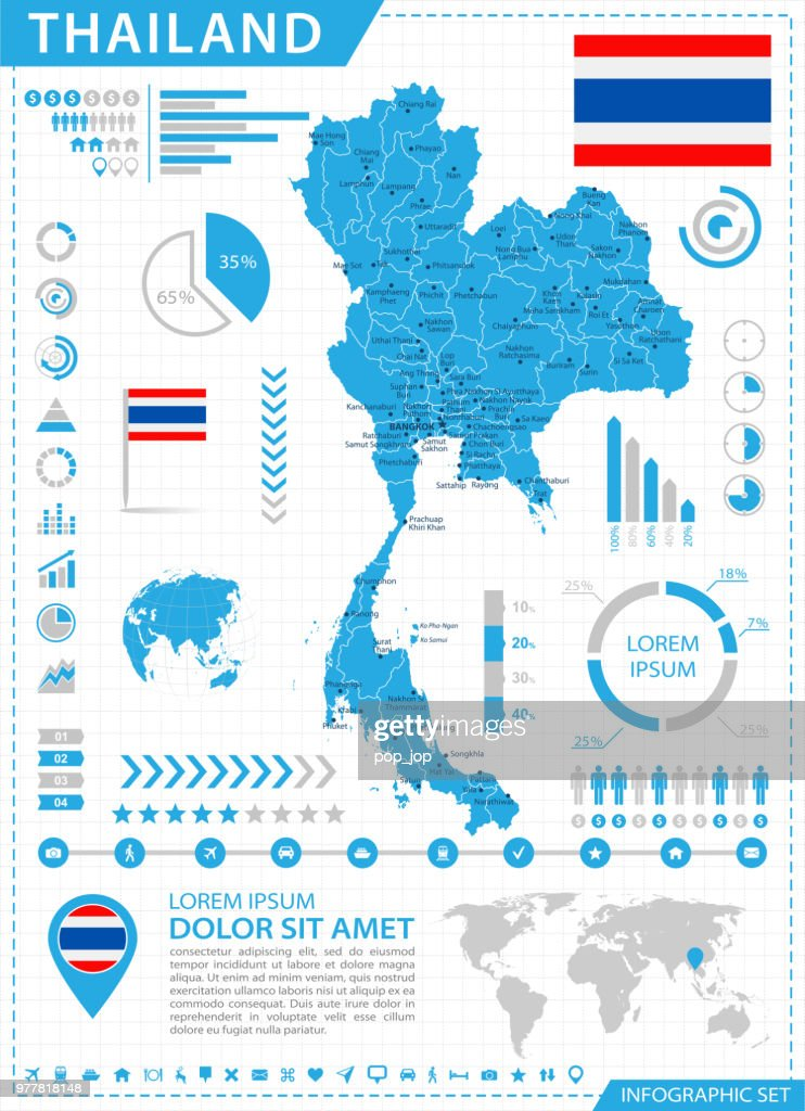 Map Of Thailand Infographic Vector Vector Art | Getty Images