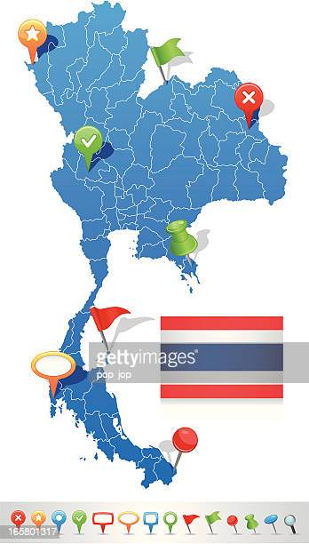 map of thailand with navigation icons - thailand stock illustrations