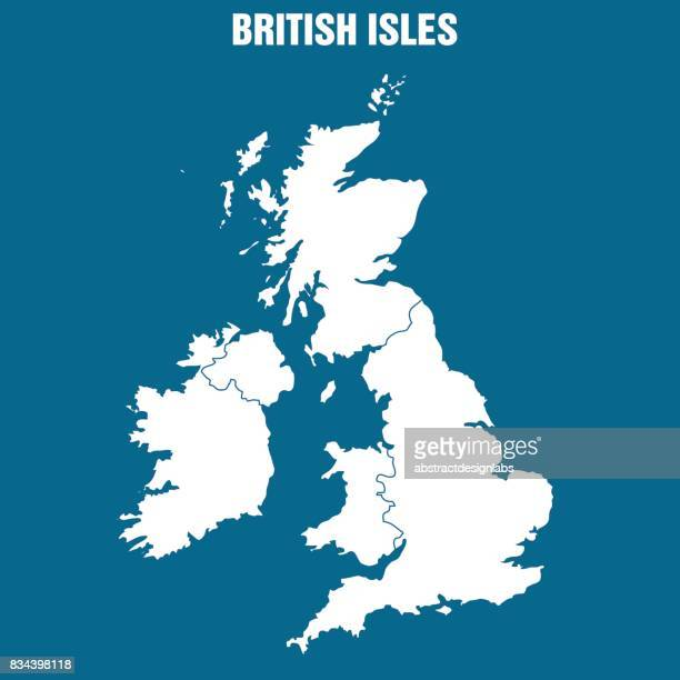 map of the british isles - illustration - map stock illustrations