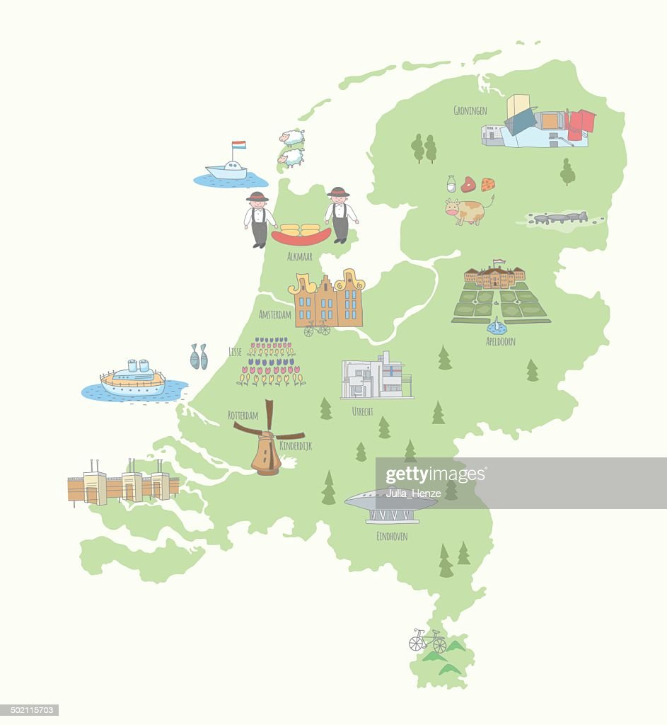 Map of the Netherlands sights