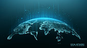 Map of the planet. World map. Global social network. Future. Vector. Blue futuristic background with planet Earth. Internet and technology.