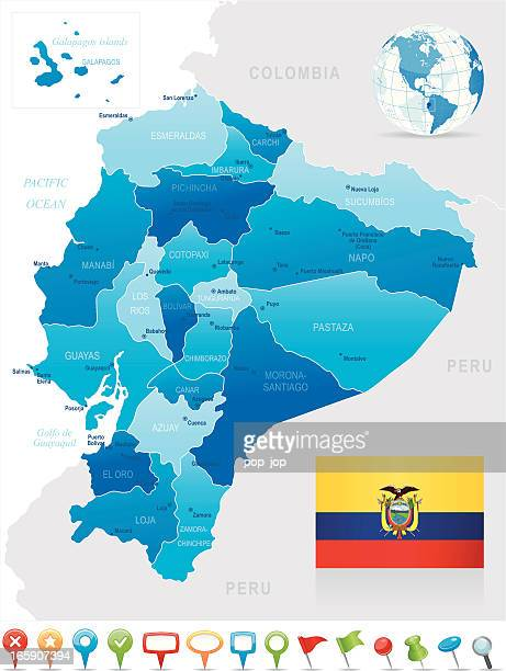 Map of the provinces of Equador in shades of blue with flag