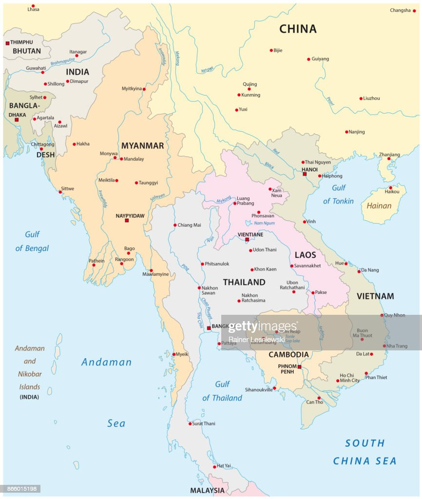 Map of the states in south east asia