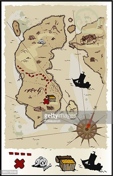 map of the treasure - normandy stock illustrations, clip art, cartoons, & icons
