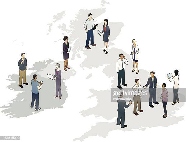 Map of the United Kingdom and Ireland with People