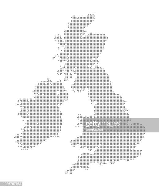 map of the united kingdom of great britain and ireland (uk) using squares - digital enhancement stock illustrations
