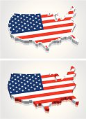 3D Map of the United States (USA) Flag